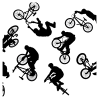 BMX Cyclist Silhouette Vector Set