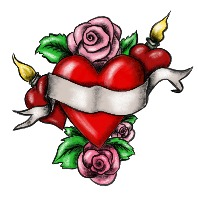 Heart with ribbon surrounded by roses