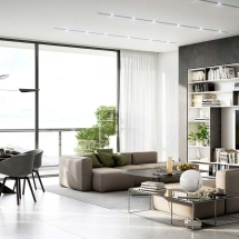 Contemporary interiors with two sofas