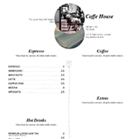 Coffe shop - Restaurant Menu