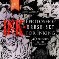 INK. 40 Photoshop Brushes for Inking+Bonus